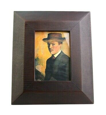 """JAY STRONGWATER EXTRA LARGE LEATHER SNAKE EMBOSSED 5""""x 7"""" FRAME NEW USA NO BOX"""