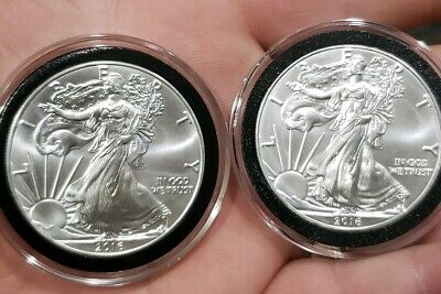 (2) 2016 1 oz AMERICAN SILVER EAGLE BRILLIANT UNCIRCULATED ASE IN AIR-TITE CASES