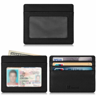 Credit Card Holder Case Sleeve with ID Window [RFID Blocking] Leather Wallet