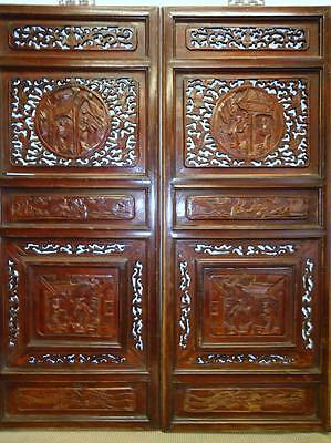 One Pair Antique Chinese Bedframe,  Wood Panels For Wall Deco 19c  (bb113,114)