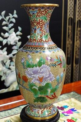 """1970s Chinese Cloisonne Art Vase Bronze Hand Made 13""""H"""