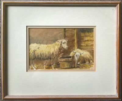 BEAUTIFUL ORIGINAL 19thc ANTIQUE WATERCOLOUR PORTRAIT STUDY OF SHEEP IN A BARN