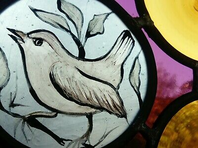 Victorian Style Painting Bird Stained Glass With Chain 35 X25 Glass Rondels