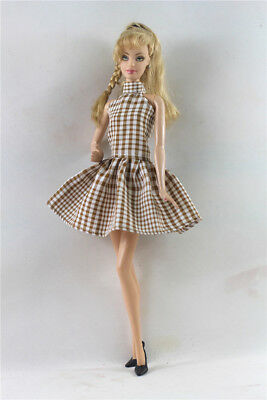 Handmade Brown  lattice  Doll Dress Suit for 11.5in. Doll Party Daily Clothes