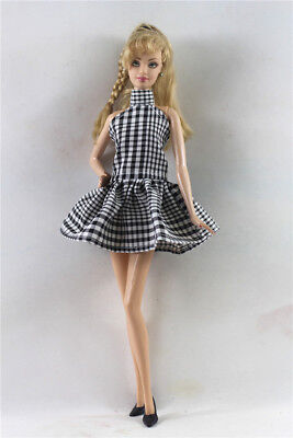 Handmade Black  lattice  Doll Dress Suit for 11.5in. Doll Party Daily Clothes