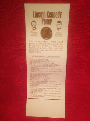 1973-D Lincoln-Kennedy Penny With Story Board Astonishing Coincidences New