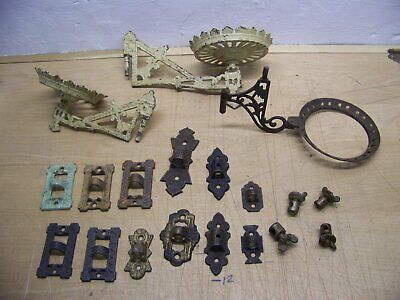 antique cast iron oil kerosene wall brackets,holders reflector clamps, plant
