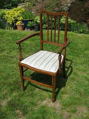 Edwardian Mahogany Open Armchair with Stringing Inlay
