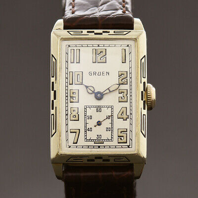 RARE! 20s GRUEN Quadron 157-W8 ART DECO SWISS MENS DRESS ENAMEL WATCH 14K GF