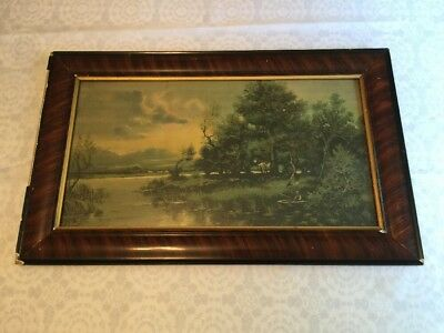 "Antique Framed Print FSHERMAN In A Cove Farm In Distance 31"" x 19"" Old Wall Art"