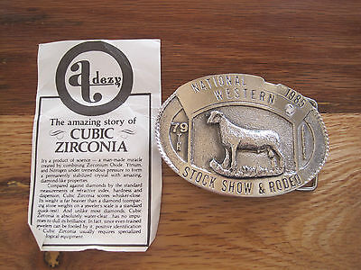National Western Stock Show Belt Buckle 1985 Lamb Zirconia Limited Ed. 24 of 100
