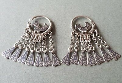 STUNNING UNIQUE jewelry Antique Ottoman Caucasus Dagestan silver niello earrings