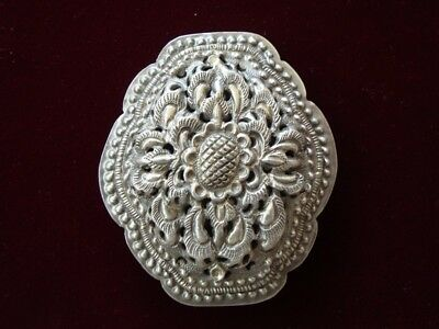ANTIQUE ORIGINAL Balkan OTTOMAN lace forged engraved silver brooch decorat XIXc