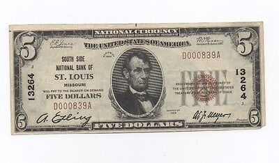1929 series $5 National Currency note.South Side Bank,St Louis.Low serial #.Nice