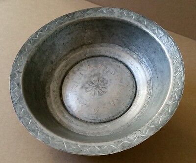 ANTIQUE & GENUINE OTTOMAN ERA COPPER BOWL-PLATE ORNATE HAND FORGED-ENGRAVED XIXc