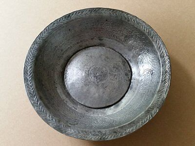 ANTIQUE OTTOMAN COPPER BOWL ORNATE HAND FORGED and HAND ENGRAVED from AH1336