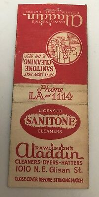 Old Matchbook Cover Rawlinson's Aladdin Cleaners Sanitone Cleaners