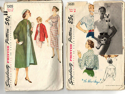Vintage Sewing Pattern - Lot of 2 - Simplicity Misses' Size 14 Fashion 1950s CUT