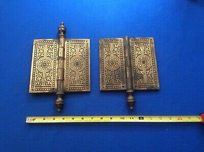 Antique Pair Of Ornate Solid Brass/Bronze Door Hinges w/Decoration Covers LOOK !