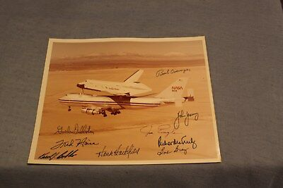 Vintage NASA Space Shuttle 747 Approach Landing John Young Autograph & Cosigners
