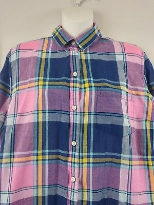 Old Navy Women's Large Classic Button Front Pink Blue Plaid Lightweight Spring