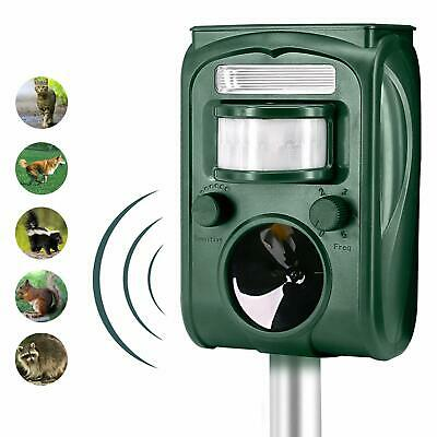 Solar Powered Ultrasonic Animal Repeller Outdoor Pest Control with Motion Sensor