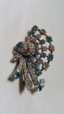 Mid Century Art Deco Style Turquoise & Clear Rhinestone Brooch Pin Silver Tone