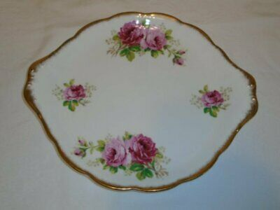"Royal Albert American Beauty Pink Roses 10"" Cake Plate Tray EUC"
