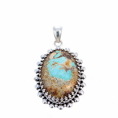 ARMENIAN TURQUOISE PENDANT Large Oval Sky Blue Sterling #2