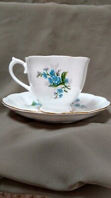 Royal Albert China Cup and Saucer - Forget Me Not Pattern