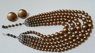 1950's Laguna 5 Strand Gold Color Bead Necklace&Clip Screw Back Button Earrings