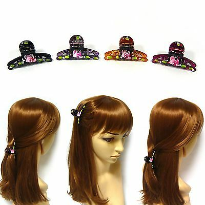 Pair Hand-Painted Rhinestone Plastic Hair Claw Jaw Clip Clamp Pin Grip Accessory