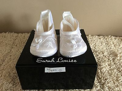 Babys  Girls Sarah Louise  White Christening Shoes Boxed Never Worn💕💕💕