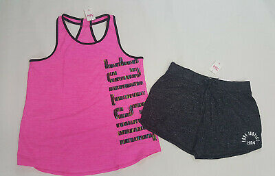 NWT JUSTICE GIRLS 8 Black Twist Front Tank /& Soft Shorts Outfit Set