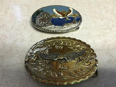 2 Belt Buckles, Eagles 1 Enameled and 1 Brass Plated
