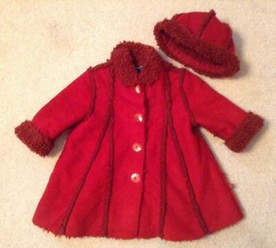 EUC! Girls Jean Bourget Red Fleece Lined Button Up Coat Sz 18M  * Deep Red Color