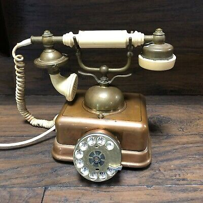 Vintage Copper & Brass French Bell Telephone Rotary Dial ~  Hotel Phone