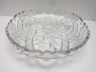 Glass Bowl Footed Large Clear Glass Etched Flowers, Leaves Scalloped Edge VtG