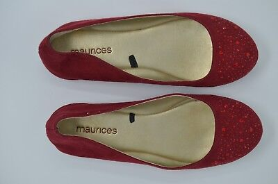 bfe1eee01225 Maurices Jeweled Ballet Flats Shoes Women Size 8 Red Solid Jewel Slip-on