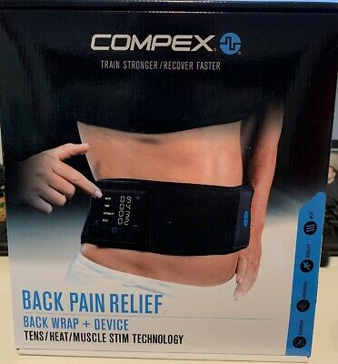 Compex Back Pain Relief Wrap Tens Device w/ Heat & Muscle Stim Technology S/M