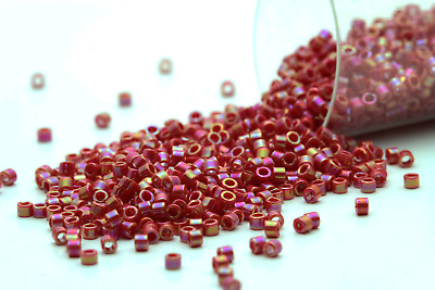 Miyuki Delicas 11/0 Opaque Red AB Seed Beads DB-162