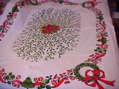 Vintage Printed Tablecloth w/ Christmas Holly & Ornaments AS IS ESTATE FRESH