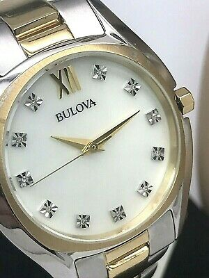 Bulova Women's Diamond MOP Dial Two Tone Stainless STeel Quartz Watch 98P145