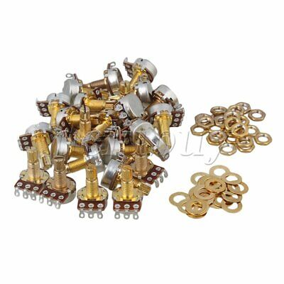 100Pcs A250K Audio Tone 18mm Shaft Electric Guitar Bass Potentiometer Gold