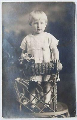 Rppc Postcard: Adorable Baby Boy Standing On Wicker Chair Victorian - V12