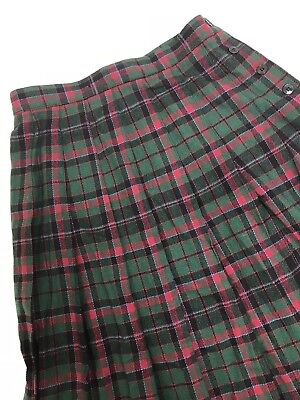 35818ee176 LL BEAN SKIRT Wool pleated tartan Plaid red green Womens 10 27