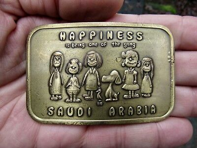 Vtg SNOOPY Belt Buckle ART Schulz Comics SAUDI Peanuts GANG Happiness RARE VG+