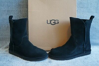 dfa68585f17 UGG AUSTRALIA ALIDA Black Suede Leather Short Pull On Ankle Boot NEW ...