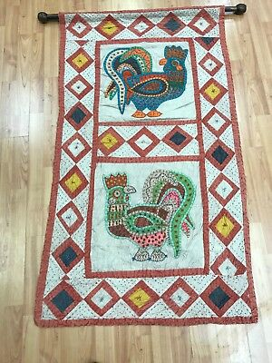 "2'6"" x 4'4"" Indian Stitch Work Tapestry - Hanging Rug - Hand Made - 100% Wool"