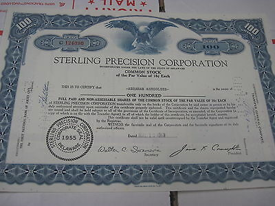 OLD CXLD STOCK CERTIFICATE Sterling Precision Instrument Corp DARK  Blue 1963